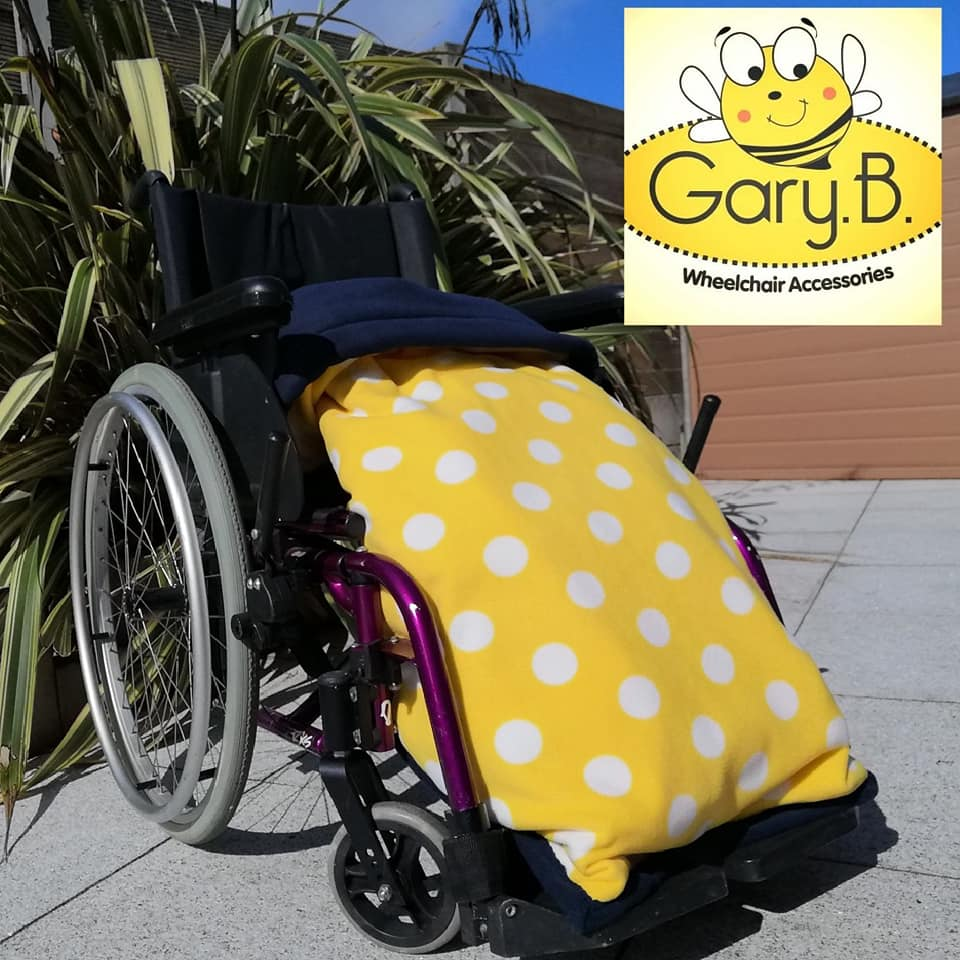 Sunflower yellow Dots Navy GaryB Wheelchair Accessories